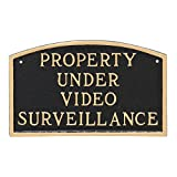 Montague Metal Products Property Under Video Surveillance Statement Plaque, Black with Gold Letter, 5.5'' x 9''