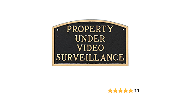 Security Cctv Surveillance Sign Notice In Solid Polished Brass Plaque