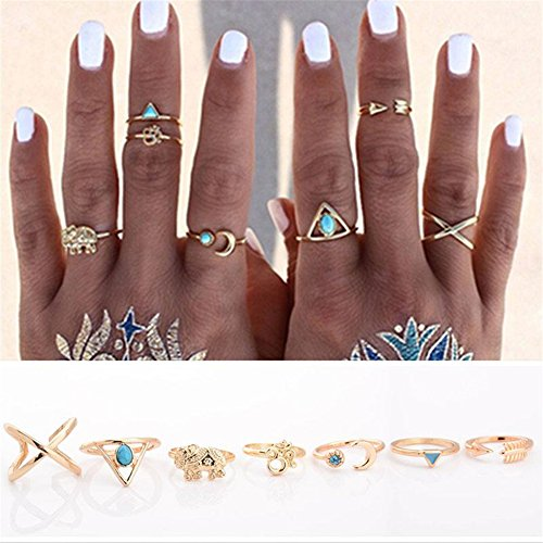 Ownsig 7Pcs Vintage Steampunk Cross Moon Anillos Midi Finger Knuckle Rings Set Gold