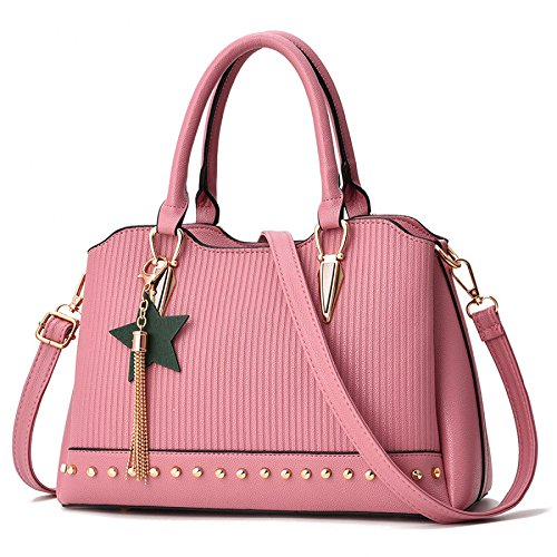 BAILIANG Womens Shoulder Bag Sac à Main PU Pendentif Mode Pink