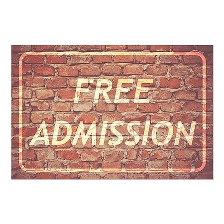 CGSignLab | ''Free Admission -Ghost Aged Brick'' Repositionable Opaque White 1st Surface Static-Cling Non-Adhesive Window Decal (5-Pack) | 30''x20'' by CGSignLab