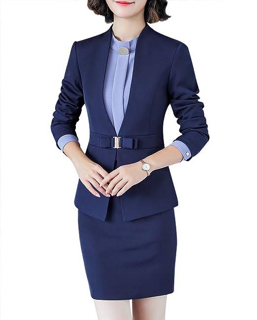c1f63e25 LISUEYNE Blazer de Dos Piezas para Mujer, Traje Formal de Oficina, Chamarra  de Negocios