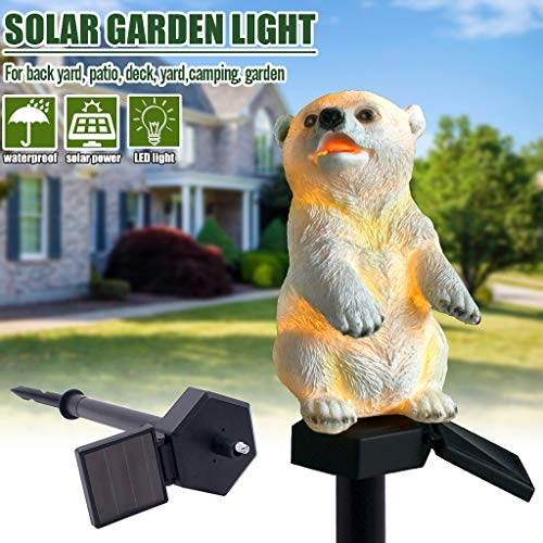 - XGao Stake Light Solar Powered Garden Art Lights Antique Metal Post with 5 Color Flashing Little Bear Flower Lamp LED Decor Lamps Waterproof Outdoor for Lawn Patio Yard Landscape Decoration (YE)