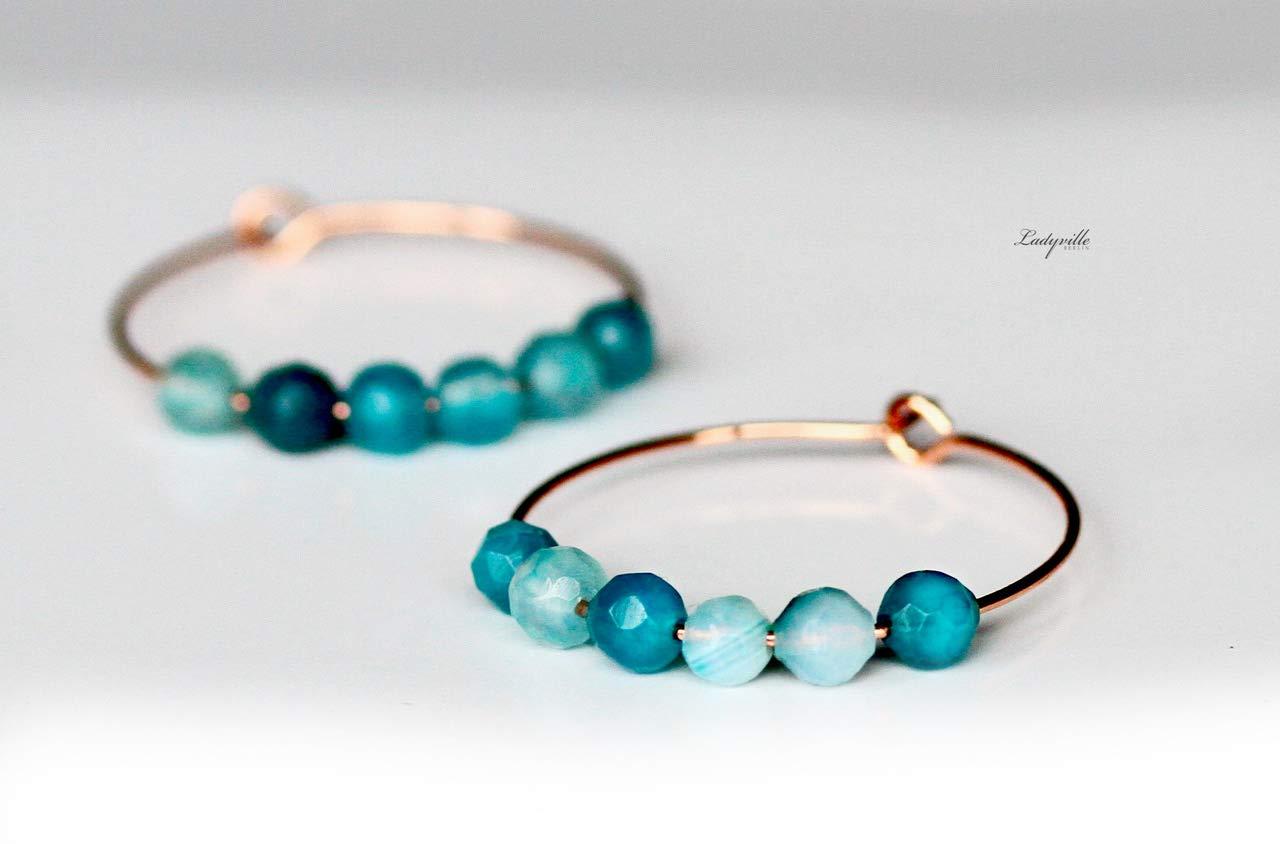 Rosé goldfarbene Ohrringe - Creole blaue Agate/Geschenk fü r Sie/Edelstein Ohrringe/besonderes Geschenk/Party Creolen/Achat Ohrring