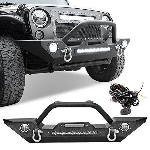 LEDKINGDOMUS Rock Crawler Front Bumper for 07-18 Jeep Wrangler JK and JK Unlimited, Built-in 90W LED Light Bar w/ 2x 60W Fog Light, Wiring Harness, Winch Plate and D-rings Textured Black