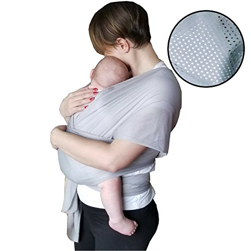 The Breezy Wrap | Quick-Dry Cotton-mesh Baby Carrier | Cool, Breezy, Sweat-Free Baby-Wearing Adventures | Strong and Sturdy but Light and Minimal – 5-35lbs | Supports Charity | (Silver)