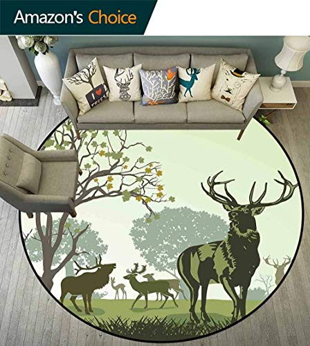 - Antlers Decor Round Rug with Fringe,Deer and Wildlife in Park World Natural Heritage Forest Areas Reindeer for Office,D-59