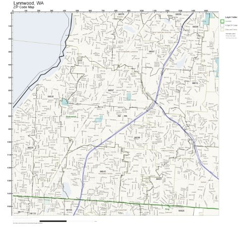 ZIP Code Wall Map of Lynnwood, WA ZIP Code Map Not Laminated ()