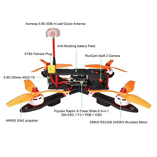 ARRIS X220 220mm RC Quadcopter FPV Racing Drone ARF w/ EMAX RS2306 Motor + Runcam Swift 2 Camera (Professional Version)