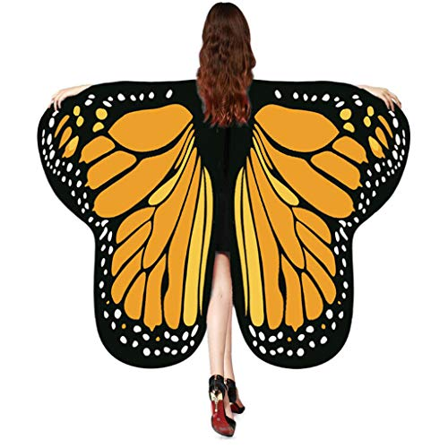 Tantisy ♣↭♣ Women and Girls Rainbow Butterfly Wings Christmas Party Shawl Fairy Ladies Cape Nymph Pixie Costume Accessory ()