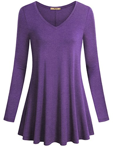 Miusey Women's V Neck Long Sleeve Flared Shirt Flowy Loose Fit Casual Tunic Tops (X-Large, Purple) by Miusey (Image #4)