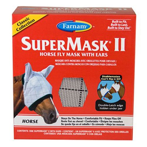 Farnam SuperMask II Classic Horse Fly Mask with Ears, Horse size, Assorted ()