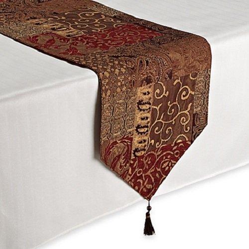 Croscill Galleria Red Patchwork Jacquard Table Runner, Paisl