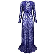 Yomoko Sexy Deep V-Neck Long Sleeve Lace Beach Dress See-through Maxi Dress