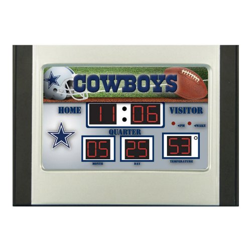 NFL Dallas Cowboys Scoreboard Desk Clock, Small, Multicolor (Dallas Cowboys Alarm)