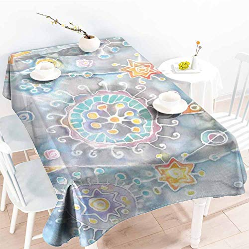 (Onefzc Small Rectangular Tablecloth,Batik Free Batik Flower and Star Motifs with Motley Blots and Murky Splashes Fantasy Image,Resistant/Spill-Proof/Waterproof Table Cover,W60x84L Multicolor)