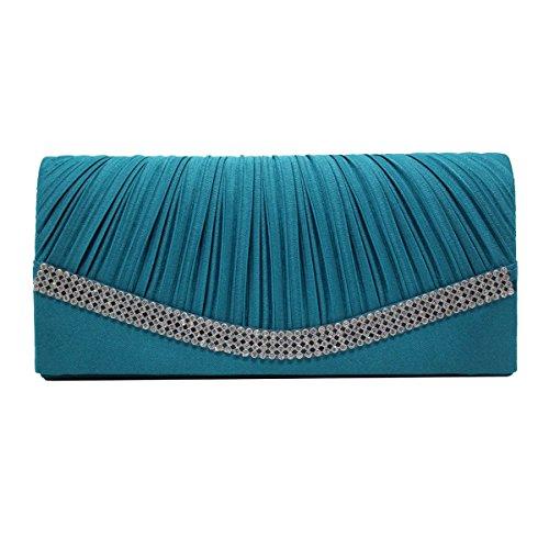 Moldeado Del Satén De Las Señoras Del Monedero Del Embrague De Tarde Del Bolso Bolsos Multicolor Blue