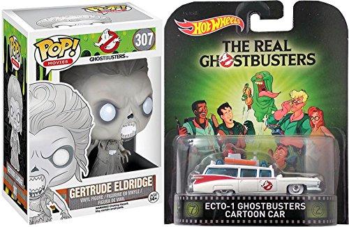Hot Wheels Ghostbusters Ecto-1 Cadillac Ambulance Retro Entertainment Cartoon Series Car & Funko Ghostbusters POP Gertrude Eldridge Vinyl Figure #307