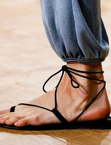 ShangYi Women's Shoes Heel Toe Ring Sandals Outdoor / Dress / Casual Black / Beige Black sHgVH