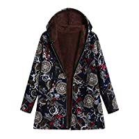 Pgojuni Women Winter Plus Size Fluffy Fur Hooded Long Sleeve Cotton Linen Coat Outwear