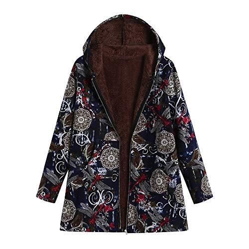 Limsea 2018 Women Outwear Plus Size Hooded Long Sleeve Cotton Linen Fluffy Fur Zipper Coat XXXXX-Large Blue (Belted Hobo Handbag)