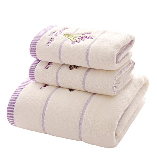 Zhenxinmei 3-Piece Cotton Towels Sets - Include 2 Face Towel & 1 Bath Towel - Scented Lavender Design Embroidered Towels Set for Maximum Softness and Absorbency (face towel+bath towel, - Round Styles Facial Hair Face