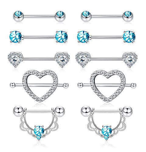 Yadoca 5 Pairs Stainless Steel Nipplerings Nipple Rings Tongue Ring CZ Barbell Heart Shape Rings Body Piercing Jewelry Set for Women Girls