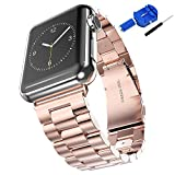 Honest kin iWatch Band 42mm Stainless Steel Metal Clasp Watchbands Replacement Wrist Strap Classic Buckle Polishing Watch Bands for Apple Watch - Rose Gold