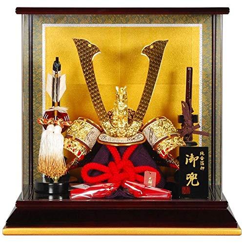 五月人形 兜 ケース飾り 瑞風(純金) 溜塗/金枠 10号 幅40cm [sb-1-3] B07N8L7YXH
