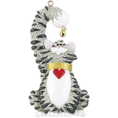 Personalized Grey Cat Christmas Ornament for Tree 2018 - Kitty with Heart Collar holds Real Bell - Breed Neutral Purr Friend Fur-ever Aww Chartreux British Nebelung Korat - Free Customization (Grey) (Black Cats White Tabby)