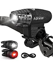 Adkwse LED Bike Lights Set,USB Rechargeable Waterproof Front Bicycle Lights Headlight and Taillight, 4 Modes Cycle Light For Mountain And Road