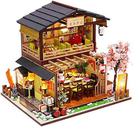 Dollhouse Miniature with Furniture, DIY Wooden Dollhouse Kit, 3D Assembled Sushi Shop, Music Movement and LED Light,1:24 Scale Creative Room, Model Creative Gifts