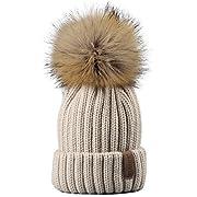 Kids Winter Knitted Pom Beanie Bobble Hat Faux Fur Ball Pom Pom Cap Unisex Kids Beanie Hat,Beige,One Size