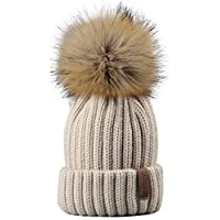 FURTALK Kids Winter Knitted Pom Faux Fur Ball Pom Pom Cap Kids Beanie Hat (Ages 2-8)