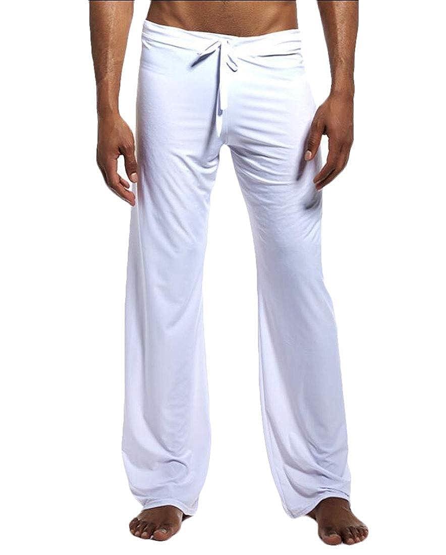 Alion Mens Cotton Jersey Knit Yoga Lounge Pants Loose Sleep Pajama Pants