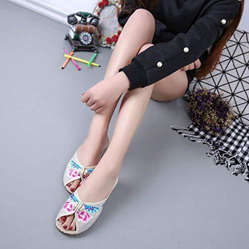 Comodo Stile Tendine 39 colore Moda Eeayyygch Etnico Suola Dimensione Infradito Scarpe Sandali A Metri Donna Bianchi Ricamate wXxRTqv