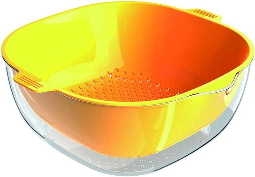 NYKK Coladores coladores de Cocina Doble Capa colador de Cocina colador rectángulo Verduras y Frutas Medio plástico Filtro Desmontable Que Ahorra Espacio Tamices Coladores Cocina (Color : Yellow)