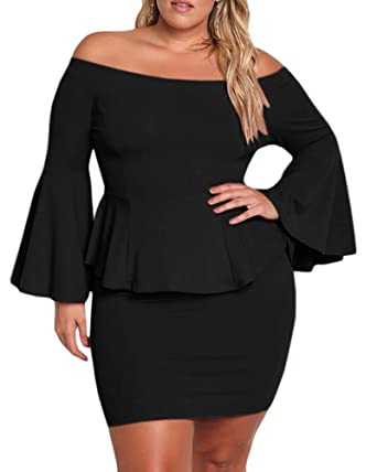 Womens Plus Size Peplum Dresses Off The Shoulder Bell Sleeve Ruched
