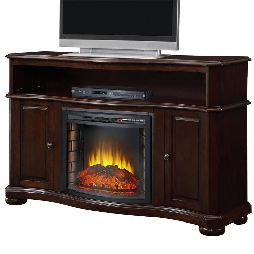Merrill Media Electric Fireplace Heater Ventless Merlot Dark Wood Living Bed Room Tv Stand