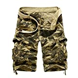 Fashion Mens,PASATO Casual PantsPocket Beach Work Casual Short Trouser Shorts (Khaki,34)