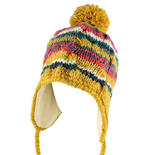 Morehats Multi Stripe Knit Pom Pom Handmade Trapper Beanie Winter Ski Warm Hat Mustard (Pom Trapper)