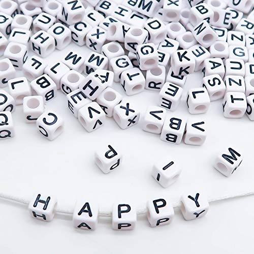 TOAOB 800 Pieces White Letter Beads Cube Alphabet A-Z 6x6mm for Jewelry Making DIY Necklace Bracelet