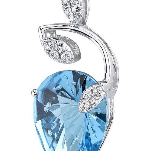 Revoni 14ct or blanc 585/1000 moulinet Coupe En forme de poire5.42 carats Suisse topaze bleue Pendentif diamant