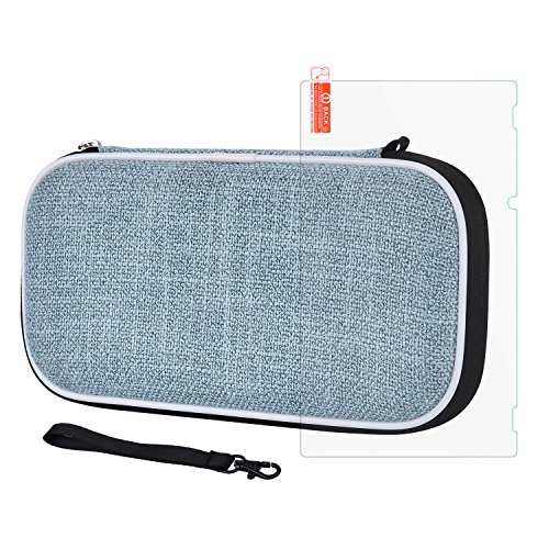 Carry Case for Nintendo Switch - Elekele Protective Portable Case Shell Pouch 12 Card Slots Design for Nintendo Switch Game Console & Accessories (Blue, linen)