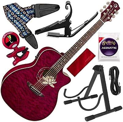 Luna Flora Series Lotus Guitarra acústica de madera de arce con ...