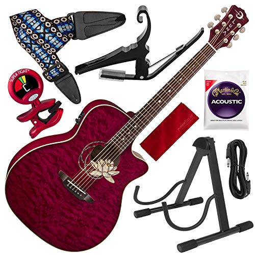 tus Quilted Maple Cutaway Acoustic-Electric Guitar with Kyser Quick-Change Capo Deluxe Accessory Bundle ()