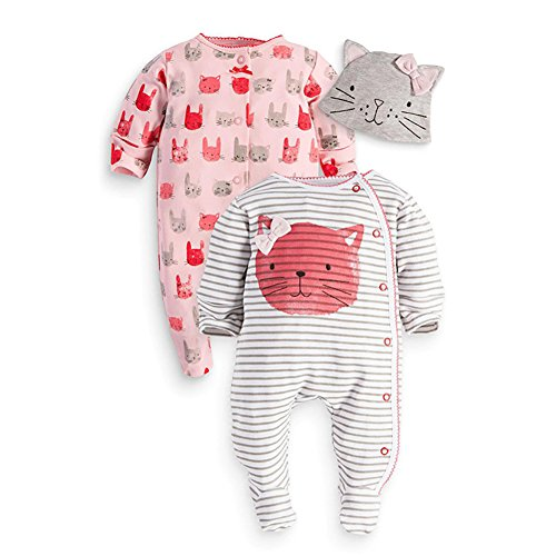 Chic Gal Baby Newborn Unisex Printed 2 Pack Footie Set with Cap (90cm, Rose/White) by Chic Gal