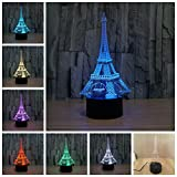 Geekercity 3D Optical Illusion Desk Lamp Night Light, 7 Colors Changing Touch Switch Table Home Decoration Nightlight for Bedroom Kids Room, Christmas Gifts (Eiffel Tower)