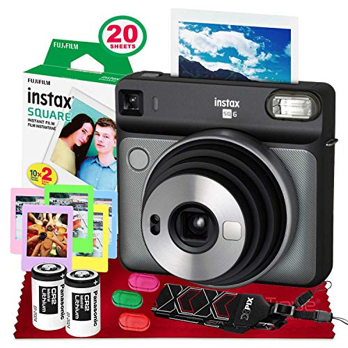 Fujifilm instax Square SQ6 Instant Film Camera (Graphite Gray) + 20 Sheets Instant Square Film + Xpix Camera Strap + Fibertique Cloth (USA Warrantty)