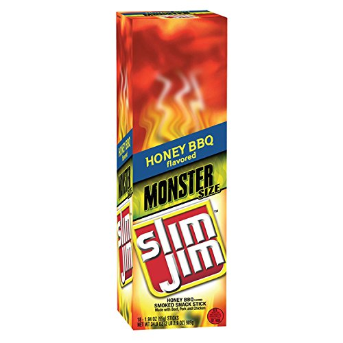 Slim Jim Monster Smoked Meat Stick, Honey BBQ Flavor, 1.94 Oz. (18 - Flavor Bbq Beef